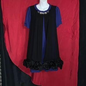 Beautiful royal blue & black dress with jewels.